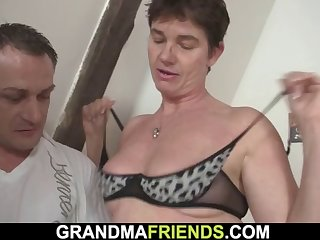 3some with hairy pussy old granny in red lingerie