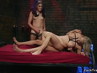 busty blonde dp banged by shemales