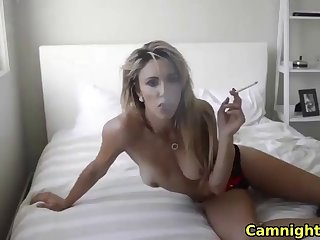 naughty blonde babe showing soul coupled with having a smoke