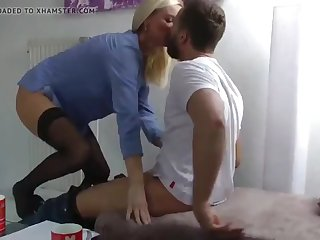 sexy mature milf gets weighted down with cum by young roommate