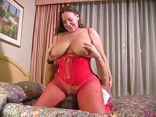 your southern belle - busty bbw red fishnet bodystockings brazen heels corset
