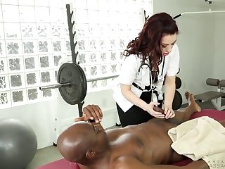 slutty female doctor needs a guy's bbc in her shaved pussy